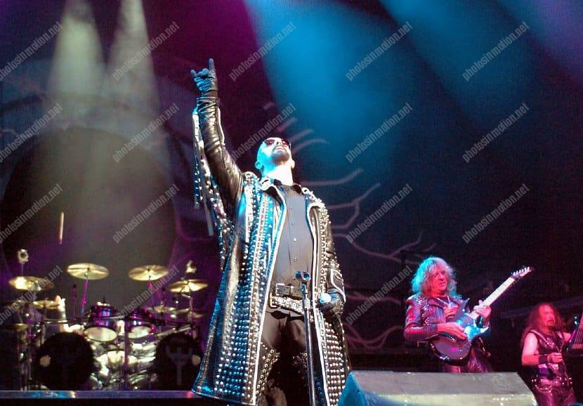 Rob Halford, lead singer of Judas Priest, performs at the Sun Dome on the campus of the University of South Florida in Tampa, Florida.