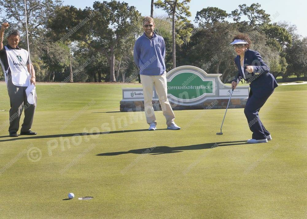 Corporate photography like this shot of Dr. Sheila Johnson emoting over a putt, is important to the economy in Palm Harbor and Tampa Bay, Florida.