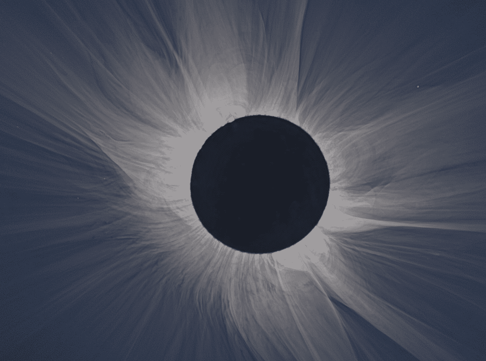 During the totality of the solar eclipse, the sun's outer atmosphere can be seen.