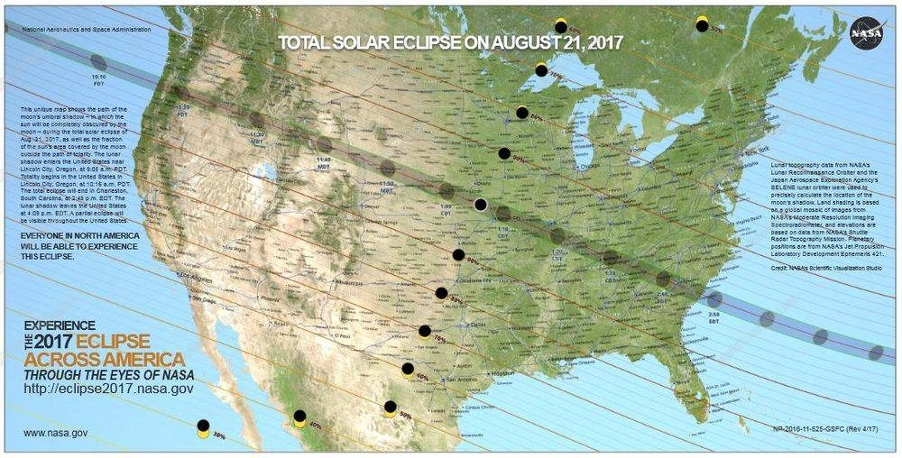 This NASA map of the projected path of the solar eclipse will help in deciding where to make good photographs.